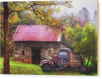Wood Print featuring the photograph Old Smoky Truck And Barn by Debra and Dave Vanderlaan