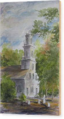 Wood Print featuring the painting Old St. David's In The Fall by Gloria Turner