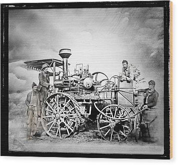 Old Steam Tractor Wood Print by Mark Allen