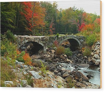 Old Stone Bridge In Fall Wood Print by Lois Lepisto