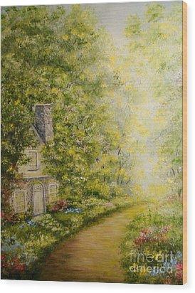 Old Stone Cottage Wood Print