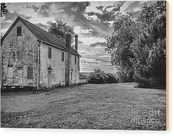 Old Stone House Black And White Wood Print