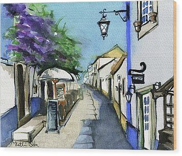 Wood Print featuring the painting Old Street In Obidos, Portugal by Dora Hathazi Mendes