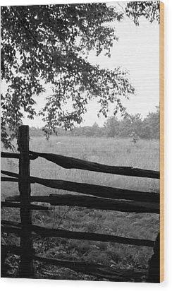 Old Sturbridge Fence In Black And White Wood Print by Belinda Dodd