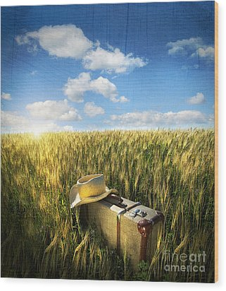 Old Suitcase With Straw Hat In Field Wood Print by Sandra Cunningham