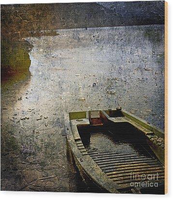 Old Sunken Boat. Wood Print by Bernard Jaubert