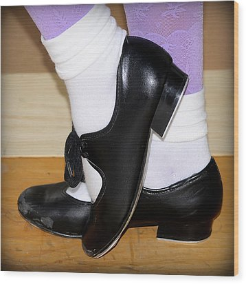 Old Tap Dance Shoes With White Socks And Wooden Floor Wood Print
