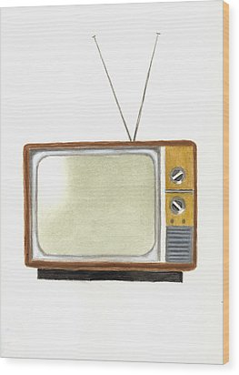 Old Television Set Wood Print by Michael Vigliotti