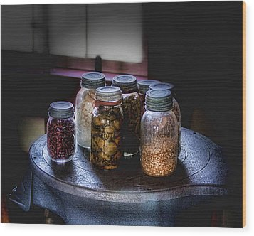 Old-time Canned Goods Wood Print by Tom Mc Nemar