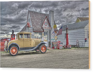 Old Time Gas Station Wood Print
