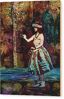 Old Time Hula Dancer Wood Print by Marionette Taboniar