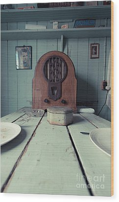 Wood Print featuring the photograph Old Time Kitchen Table by Edward Fielding