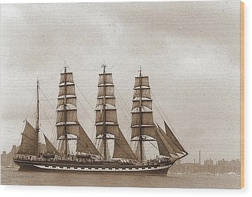 Old Time Schooner Wood Print