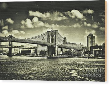 Old Times In Brooklyn Wood Print by Alessandro Giorgi Art Photography