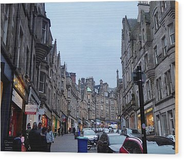 Old Town Edinburgh Wood Print by Margaret Brooks