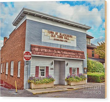 Old Town Hall Blacksburg Virginia Est 1798 Wood Print