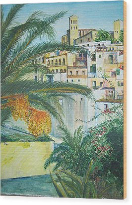 Old Town Ibiza Wood Print by Lizzy Forrester