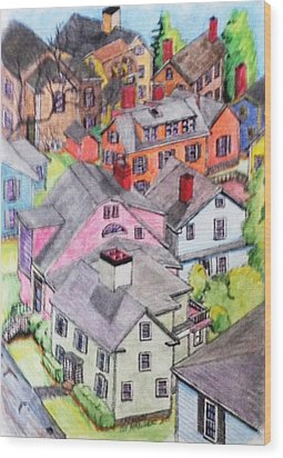 Old Town Marblehead Wood Print by Paul Meinerth