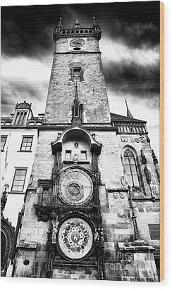 Old Town Square Clock Tower Wood Print by John Rizzuto