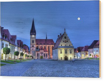 Old Town Square In Bardejov, Slovakia,hdr Wood Print by Elenarts - Elena Duvernay photo