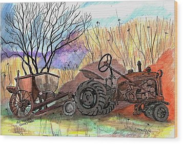 Old Tractor Danvers Ma Wood Print by Paul Meinerth
