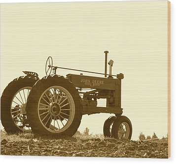 Old Tractor IIi In Sepia Wood Print