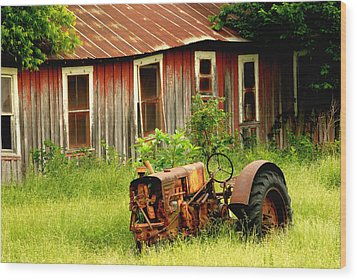 Old Tractor Wood Print by Iris Greenwell