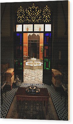 Old Traditional Riad In Fez Wood Print