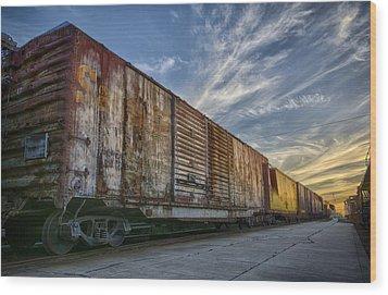 Old Train - Galveston, Tx Wood Print