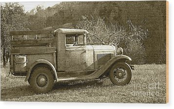 Old Truck On The Mountain Wood Print by Pete Hellmann
