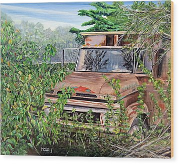 Old Truck Rusting Wood Print by Marilyn  McNish