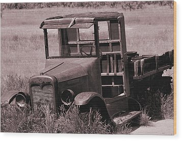 Wood Print featuring the photograph Old Truck In Sepia by Kae Cheatham
