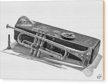 Wood Print featuring the photograph Old Trumpet by Walt Foegelle