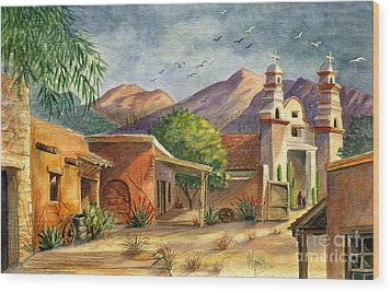 Old Tucson Wood Print by Marilyn Smith