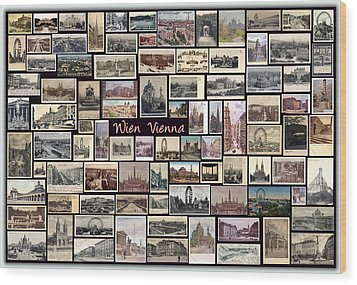 Old Vienna Collage Wood Print by Janos Kovac