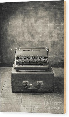 Wood Print featuring the photograph Old Vintage Typewriter  by Edward Fielding