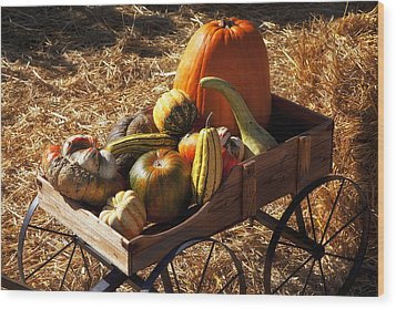 Old Wagon Full Of Autumn Fruit Wood Print by Garry Gay