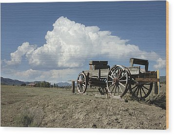 Old Wagon Out West Wood Print by Jerry McElroy