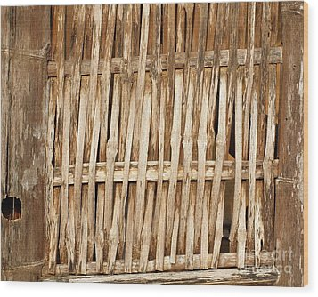 Old Wall Made From Bamboo Slats Wood Print by Yali Shi