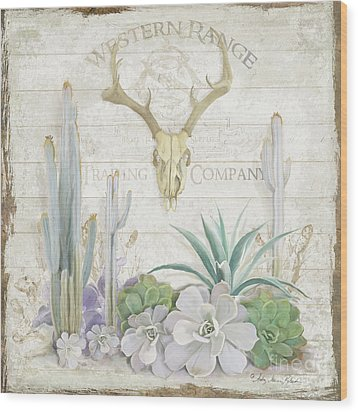 Old West Cactus Garden W Deer Skull N Succulents Over Wood Wood Print by Audrey Jeanne Roberts