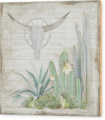 Old West Cactus Garden W Longhorn Cow Skull N Succulents Over Wood Wood Print by Audrey Jeanne Roberts