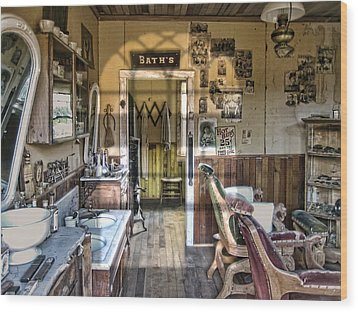 Old West Victorian Barber Shop Interior - Montana Territory Wood Print by Daniel Hagerman