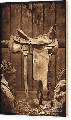 Old Western Saddle Wood Print