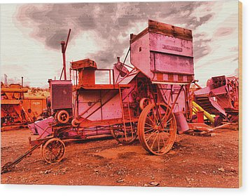 Wood Print featuring the photograph Old Wheat Harvestor by Jeff Swan