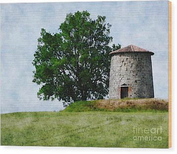 Wood Print featuring the photograph Old Windmill by Jean Bernard Roussilhe