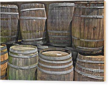 Old Wine Barrels Wood Print