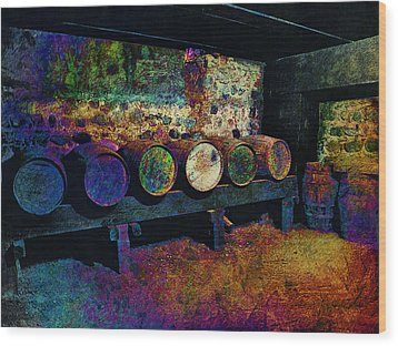 Wood Print featuring the digital art Old Wine Barrels by Glenn McCarthy Art and Photography
