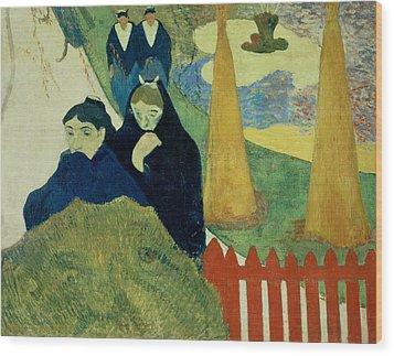 Old Women Of Arles Wood Print by Paul Gauguin