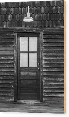 Wood Print featuring the photograph Old Wood Door And Light Black And White by Terry DeLuco