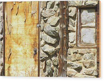 Old Wood Door Window And Stone Wood Print by James BO  Insogna